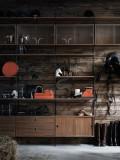 String Furniture Kast met tafel medium, zwart/walnoot
