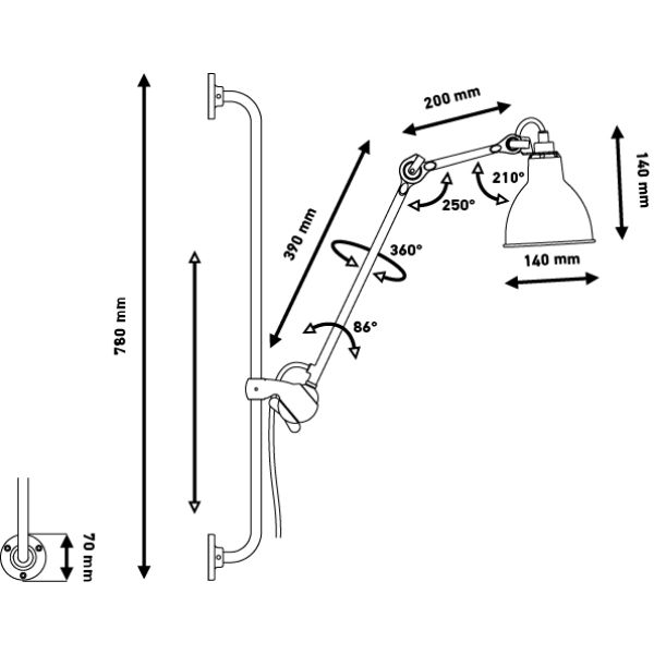 DCW éditions Lampe Gras N210 wandlamp