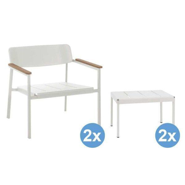 Emu Shine Lounge fauteuils + 2 voetenbanken