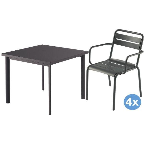 Emu Star tuinset 90x90 tafel + 4 stoelen (armchair)