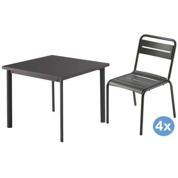 Emu Star tuinset 90x90 tafel + 4 stoelen (chair)