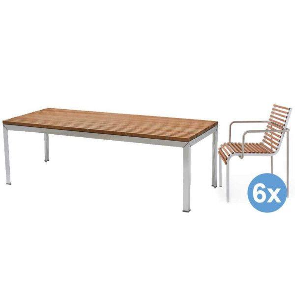 Extremis Extempore tuinset 180x90 tafel + 6 stoelen