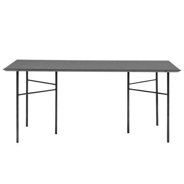 Ferm Living Mingle tafel 160x90 charcoal, zwart onderstel