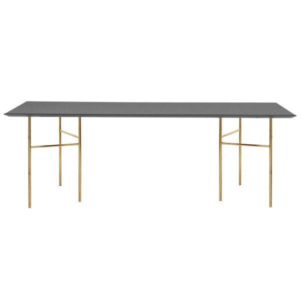 Ferm Living Mingle tafel 210x90 charcoal, messing onderstel