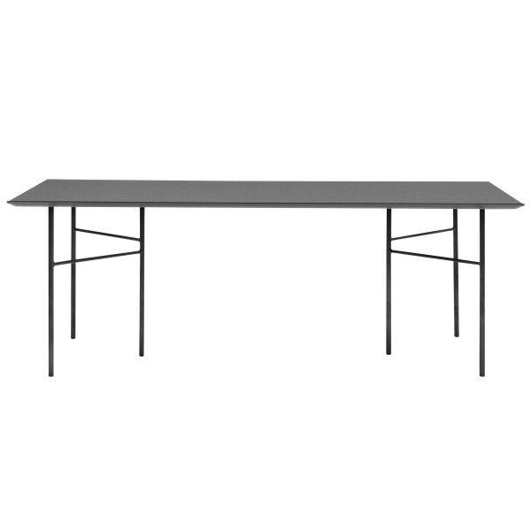 Ferm Living Mingle tafel 210x90 charcoal, zwart onderstel