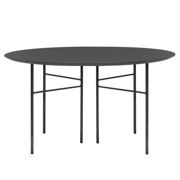 Ferm Living Mingle tafel rond 130 charcoal, zwart onderstel