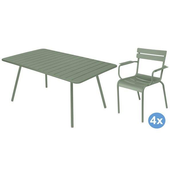 Fermob Luxembourg tuinset 165x100 tafel + 4 stoelen (armchair)