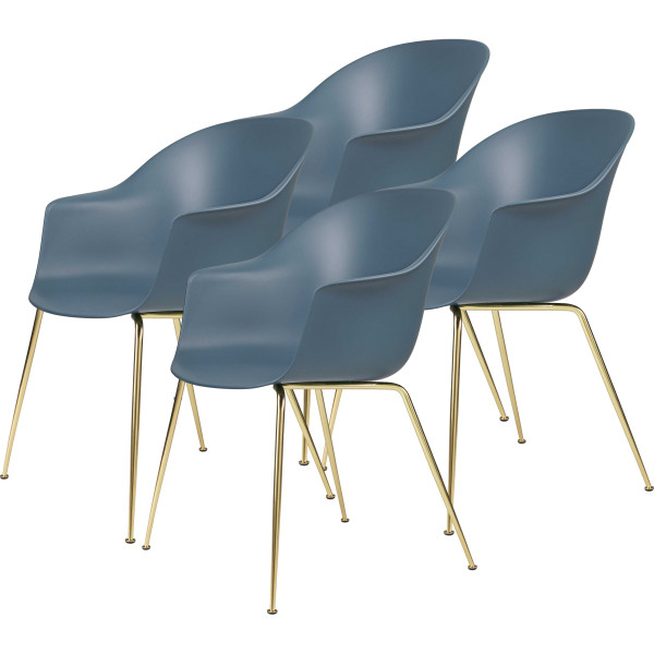 Gubi Bat Dining Conic stoel, brass base (set van 4)