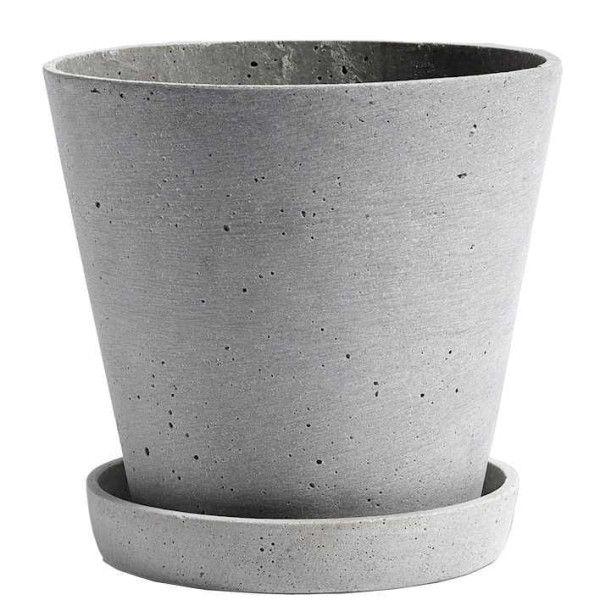 Hay Flowerpot with saucer large, grijs