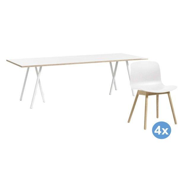 Hay Loop Stand 160 wit eetkamerset + 4 AAC12 stoelen