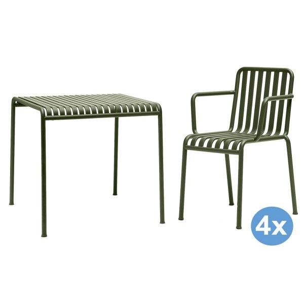 Hay Palissade tuinset 90x82,5 tafel + 4 stoelen (armchair)