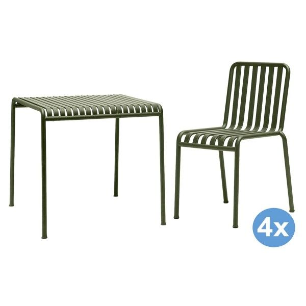 Hay Palissade tuinset 90x82,5 tafel + 4 stoelen (chair)