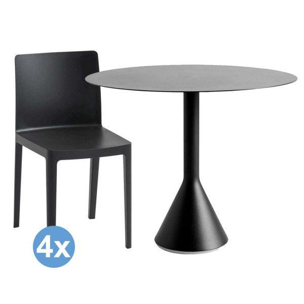 Hay Palissade tuinset Cone tuintafel 90 + 4 Elementaire stoelen