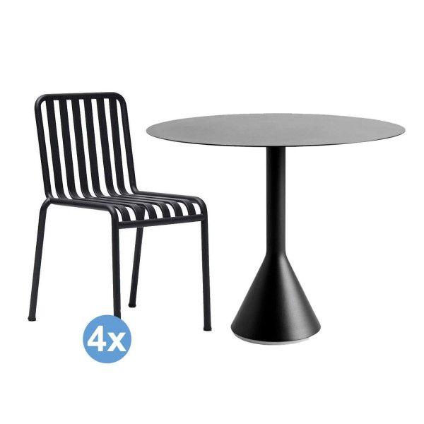 Hay Palissade tuinset Cone tuintafel 90 + 4 stoelen