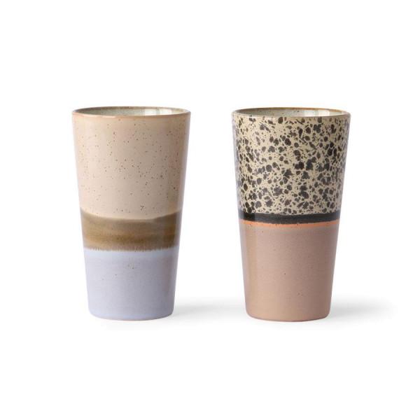 HKliving 70's Ceramic Latte mokken set van 2