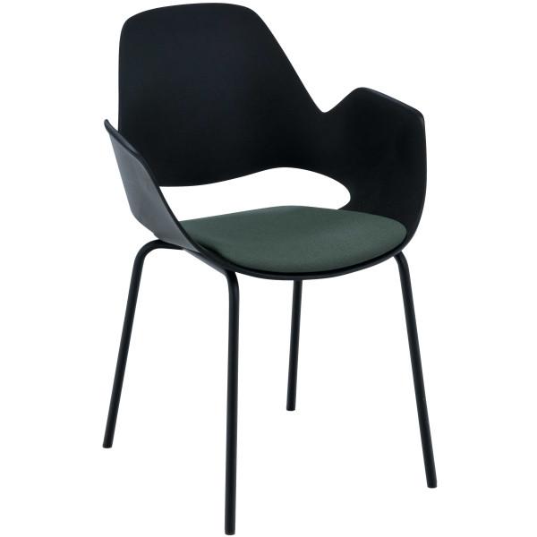 Houe Falk gestoffeerde stoel met zwart onderstel