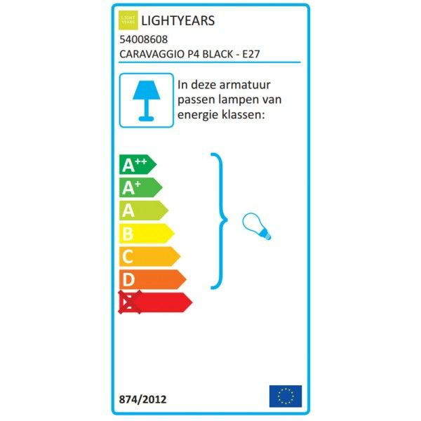 Lightyears Caravaggio Black P4 hanglamp