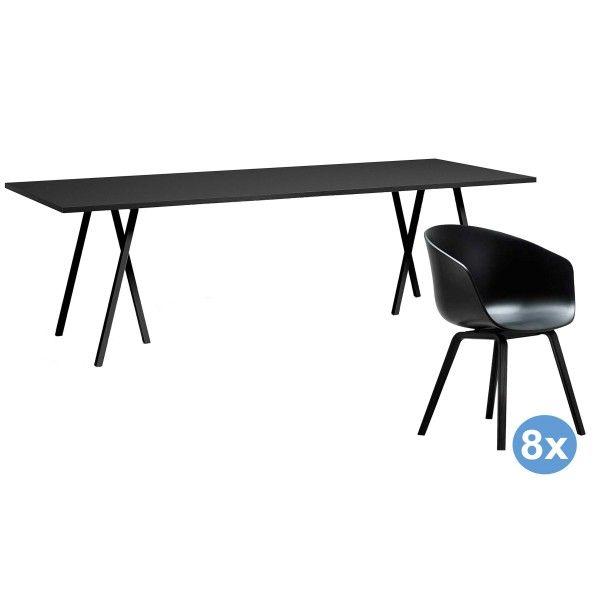 Hay Loop Stand 250 zwart eetkamerset + 8 AAC22 stoelen