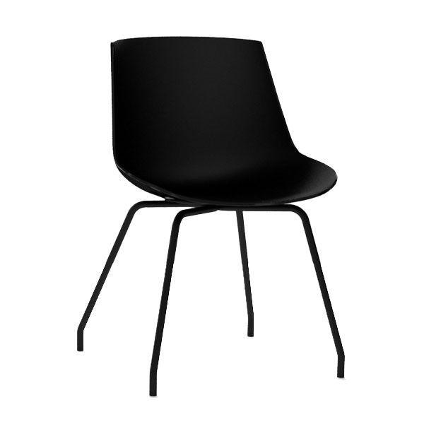 MDF Italia Flow Chair stoel zwart met stalen onderstel