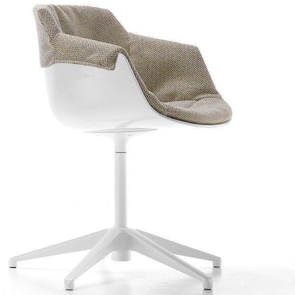 MDF Italia Flow Slim Chair gestoffeerde stoel met vijfpoot