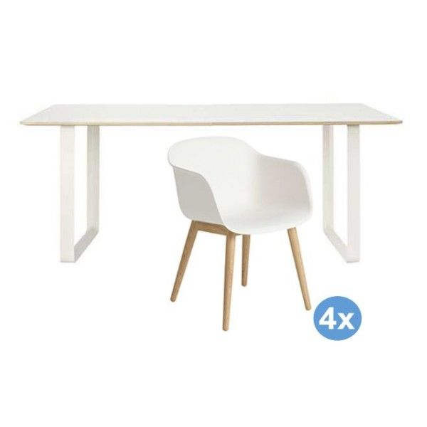 Muuto 7070 tafel 170 eetkamerset + 4 Fiber wood stoelen