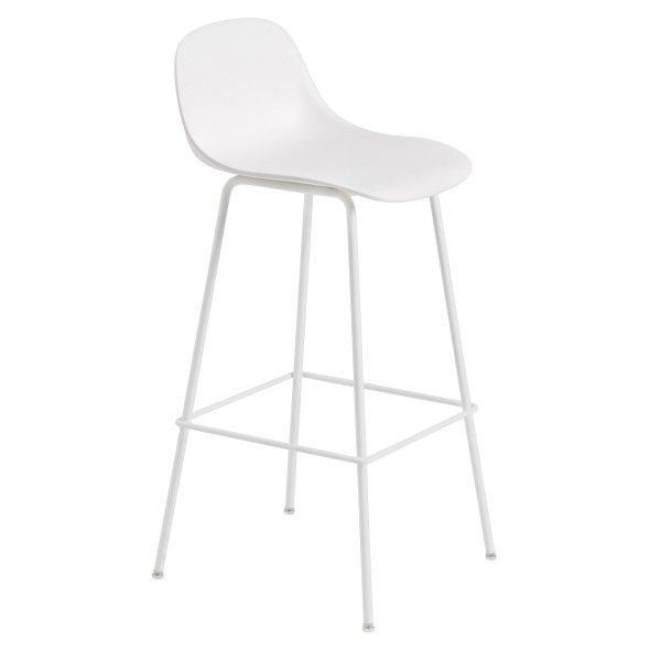 Muuto Outlet - Fiber Backrest Tube barkruk 75cm wit