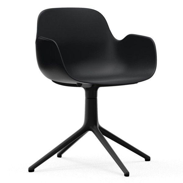 Normann Copenhagen Form Armchair Swivel stoel met zwart onderstel