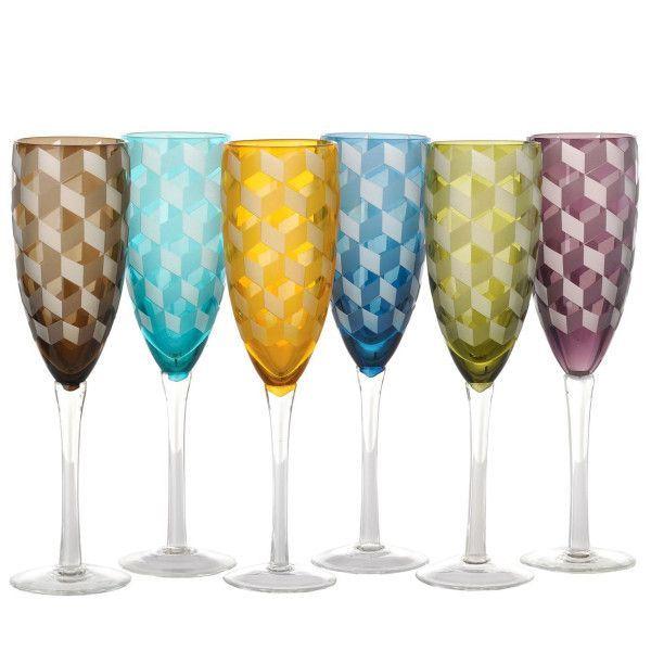 Pols Potten Multicolour Blocks champagneglas 6 stuks