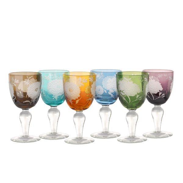 Pols Potten Multicolour Peony wijnglas 6 stuks