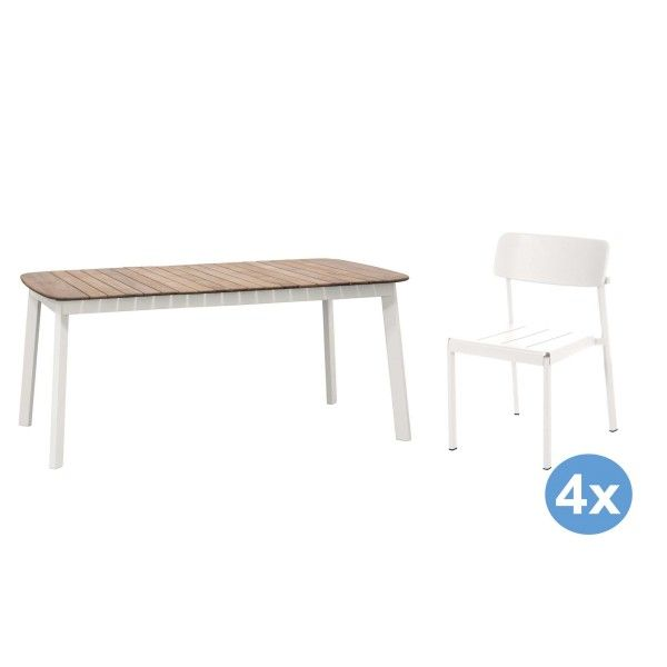 Emu Shine Teak tuinset 166x100 tafel + 4 stoelen