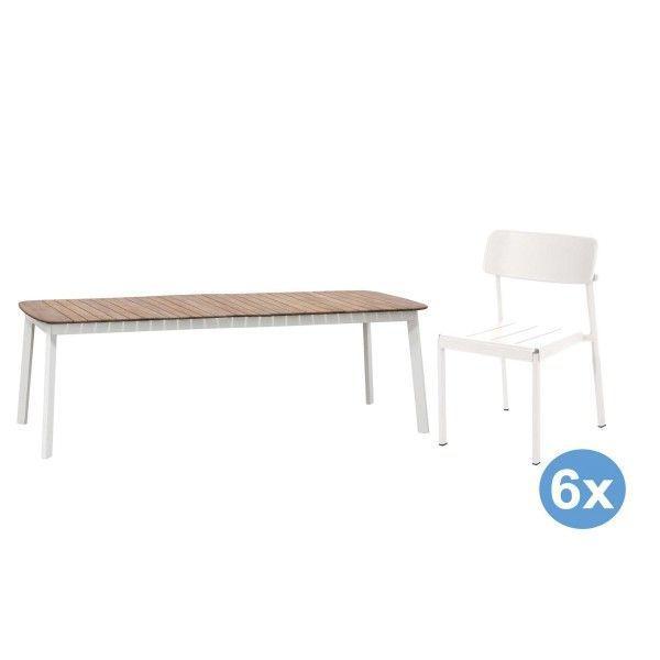 Emu Shine Teak tuinset 292x100 tafel + 6 stoelen