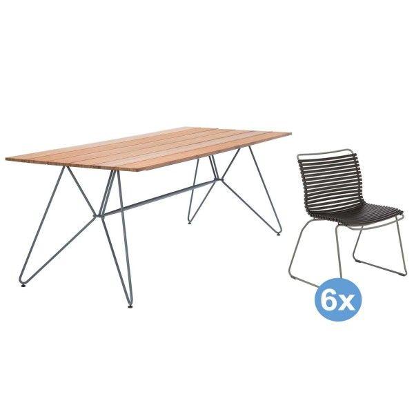 Houe Sketch Bamboo tuinset 220x88 tafel + 6 stoelen