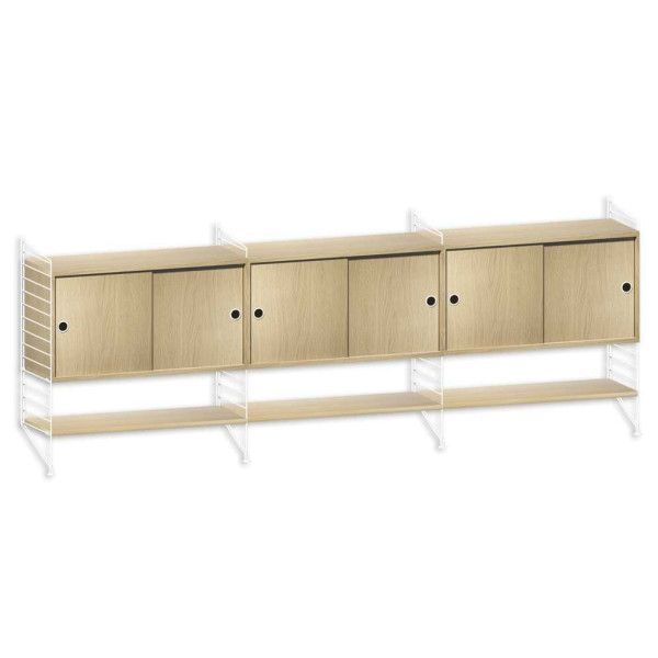 String Furniture Dressoir large, wit/eiken