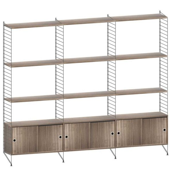 String Furniture Hoge kast large, zwart/walnoot