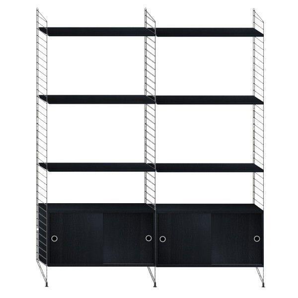 String Furniture Hoge kast medium, zwart