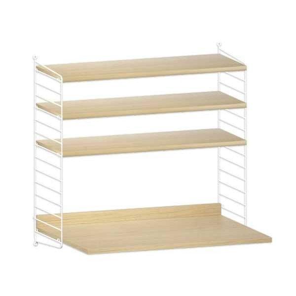 String Furniture Wandkast met tafel small, wit/eiken