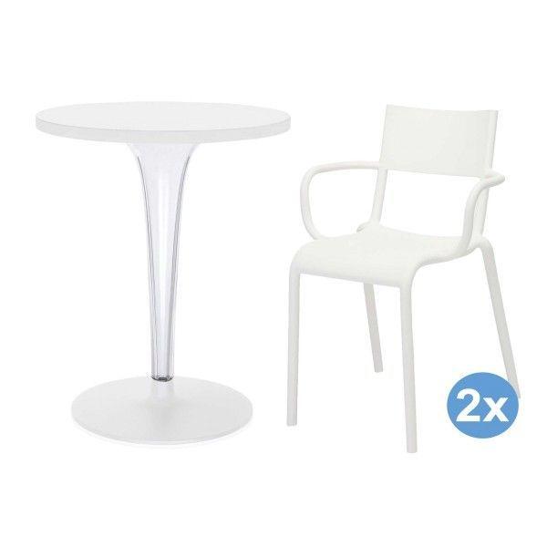 Kartell TopTop tuinset 60 tafel + 2 Generic A stoelen