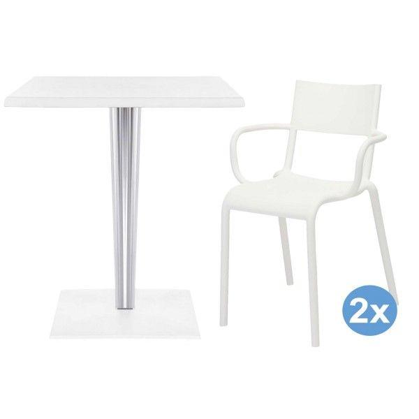 Kartell TopTop tuinset 60x60 tafel + 2 Generic A stoelen