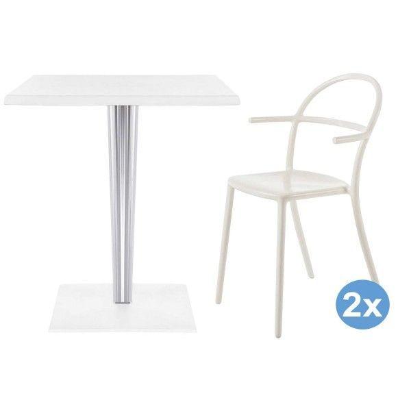 Kartell TopTop tuinset 60x60 tafel + 2 Generic C stoelen