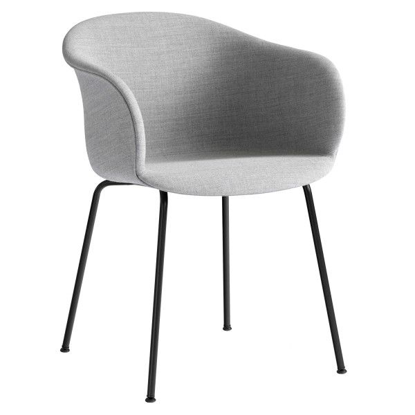 &tradition Elefy JH29 gestoffeerde stoel met zwart stalen onderstel