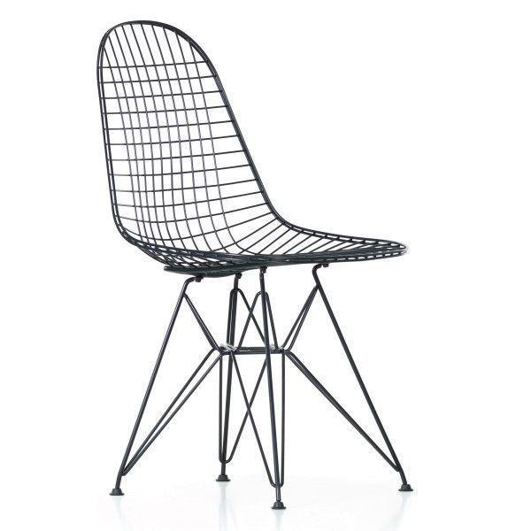 Vitra Eames Wire Chair DKR stoel gepoedercoat onderstel