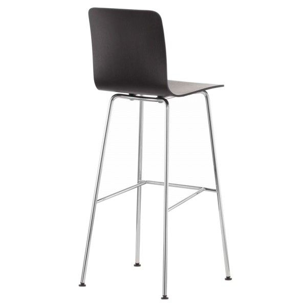 Vitra Hal Ply Stool High barkruk notenhout zwart