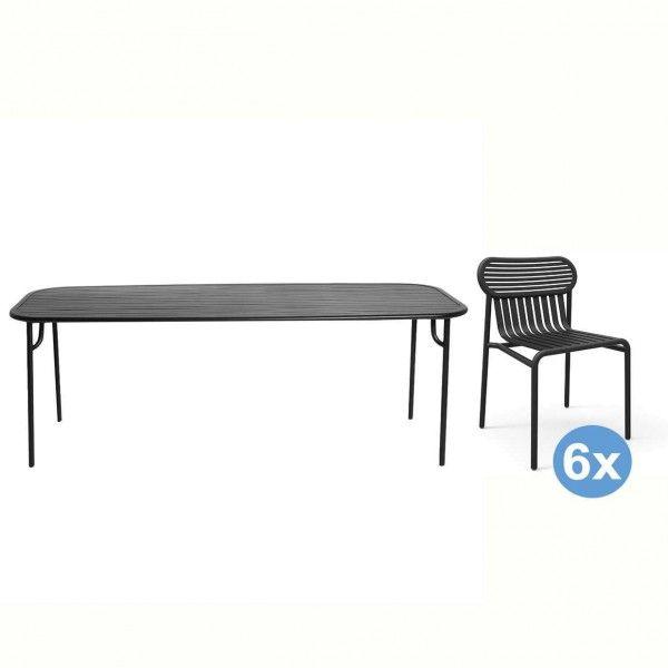 Petite Friture Week-end tuinset 220x85 tafel + 6 stoelen