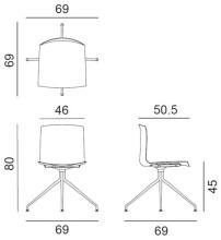 Arper Catifa 46 Trestle Swivel stoel