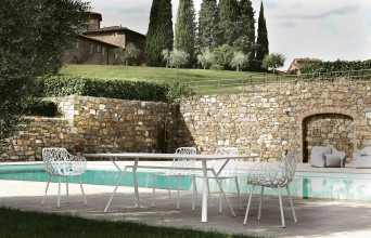 Fast Radice Quadra Teak tuinset 200x90 tafel + 6 stoelen (armchair)