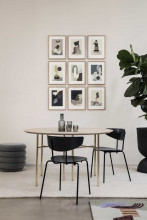 Ferm Living Mingle tafel rond 130 charcoal, messing onderstel