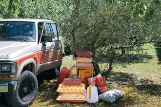 Fermob Envie d'ailleurs Outdoor Cocotiers kussen 70x70 Honey