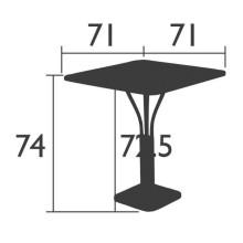 Fermob Luxembourg tuintafel massief blad 71x71