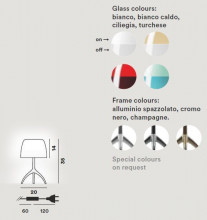Foscarini Lumiere Piccola tafellamp met dimmer en aluminium onderstel