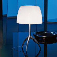Foscarini Lumiere Piccola tafellamp met aan-/uitschakelaar en champagne onderstel